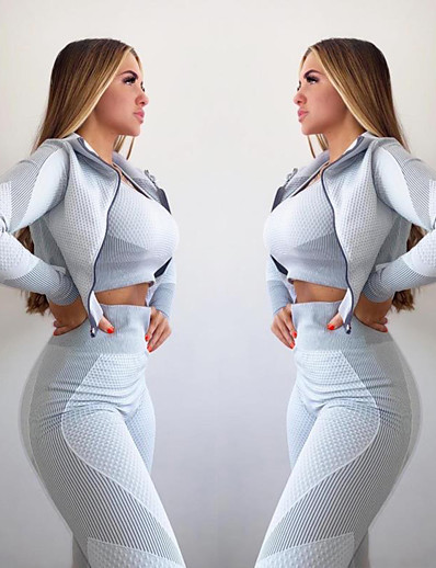 cheap Running, Jogging & Walking-Women's Thumbhole Athletic Athleisure Activewear Set Yoga Suit Compression Suit 3pcs Long Sleeve Winter High Waist Quick Dry Breathable Soft Spandex Fitness Gym Workout Running Training Exercise