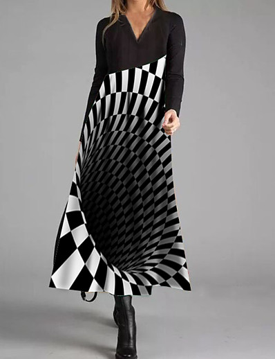 cheap 3D Trends-Women's A Line Dress Maxi long Dress Black Long Sleeve Color Block Fall Winter Round Neck Casual 2021 S M L XL XXL 3XL