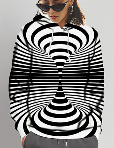 cheap 3D Trends-Women's Pullover Hoodie Sweatshirt Striped 3D Print Daily Sports 3D Print Active Casual Hoodies Sweatshirts  Black