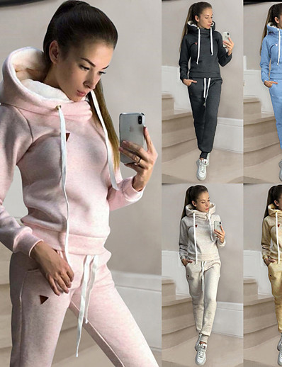 cheap Two Piece Set-Women's Sweatsuit 2 Piece Set Drawstring Loose Fit Hoodie Solid Color Sport Athleisure Clothing Suit Long Sleeve Soft Comfortable Everyday Use Casual Daily / Winter / 2pcs / pack