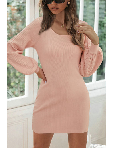 cheap Exclusive-Women's Sweater Jumper Dress Short Mini Dress Blushing Pink Long Sleeve Fall Winter Round Neck Casual Sexy Lantern Sleeve 2021 S M L XL