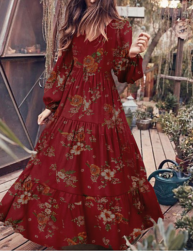 cheap 2021 TRENDS-Women's Swing Dress Maxi long Dress - Long Sleeve Floral Print Spring Elegant Puff Sleeve 2021 White Black Red S M L XL XXL 3XL 4XL 5XL