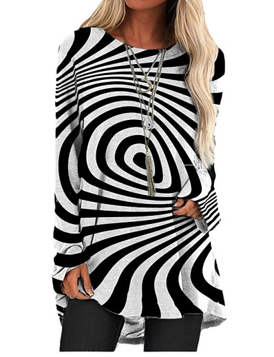 cheap 2021 TRENDS-Women's T Shirt Dress Tee Dress Short Mini Dress - Long Sleeve Color Block Geometric Print Spring Summer 3D Print Casual 3D Print Black S M L XL XXL 3XL