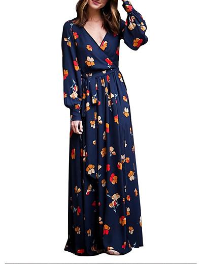 cheap Boho Dresses-Women's Swing Dress Maxi long Dress - Long Sleeve Floral Spring Fall Chinoiserie 2021 Blue S M L XL XXL 3XL