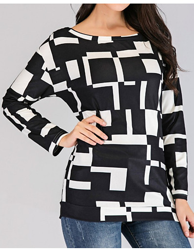 cheap 2021 TRENDS-Women's Plus Size Blouse Geometry Animal Long Sleeve Print Round Neck Tops 100% Cotton Basic Top