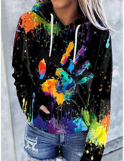 cheap Hoodies & Sweatshirts-Women's Cat Graphic Tie Dye Hoodie Pullover Front Pocket Print Other Prints Daily Basic Casual Hoodies Sweatshirts  Blue Black Brown