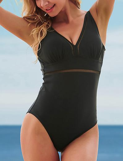 cheap 2021 Trends-Women's One Piece Monokini Swimsuit Tummy Control Open Back Mesh Solid Color Black Swimwear Strap Bathing Suits New Elegant Neutral / Formal / Slim / Padded Bras