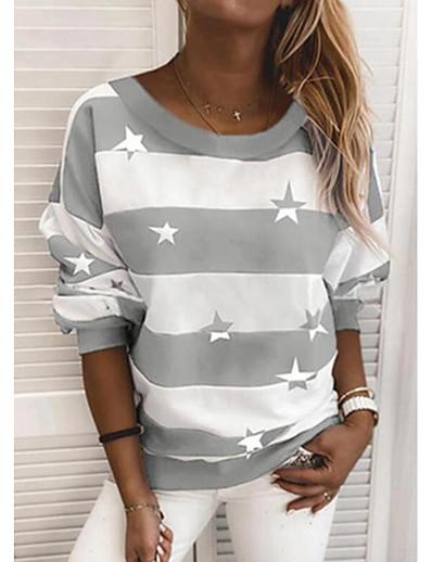 cheap Hoodies & Sweatshirts-Women's Hoodie Sweatshirt Striped Daily Basic Hoodies Sweatshirts  Loose Blue Wine Black
