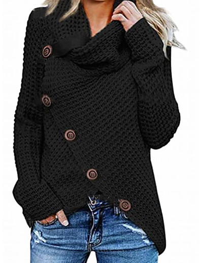 cheap Exclusive-Women's Knitted Button Solid Color Pullover Long Sleeve Sweater Cardigans Crew Neck Fall Winter Black Blue Yellow