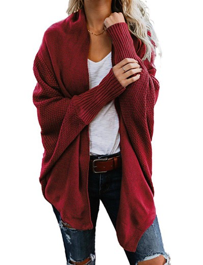 cheap TOPS-Women's Solid Color Cardigan Long Sleeve Sweater Cardigans Open Front Wine