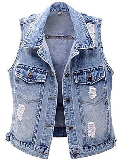 cheap Outerwear-Women's Jacket Denim Denim Casual Fall Jacket Regular Street Cotton Coat Tops Light Blue