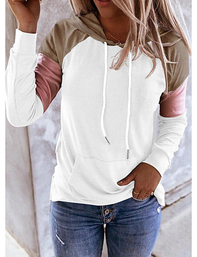 cheap Hoodies & Sweatshirts-Women's Color Block Pullover Hoodie Sweatshirt Daily Weekend Casual Cute Hoodies Sweatshirts  Blue Blushing Pink Khaki