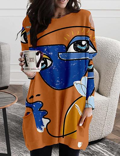 abordables Robes Femme-Femme Robe Droite Mini robe Courte Manches Longues Bloc de Couleur Géométrique Imprimé Automne Printemps Simple 2021 Blanche Violet Jaune Kaki Vert Gris Clair Gris Foncé S M L XL XXL 3XL