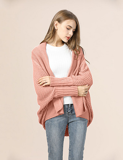 cheap TOPS-Women's Solid Color Cardigan Long Sleeve Sweater Cardigans V Neck Black Purple Red