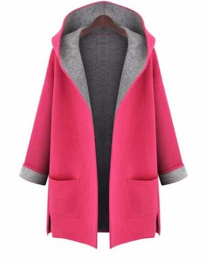 cheap Plus size-Women's Coat Fall Winter Causal Coat Jacket Plain Yellow Rose Red