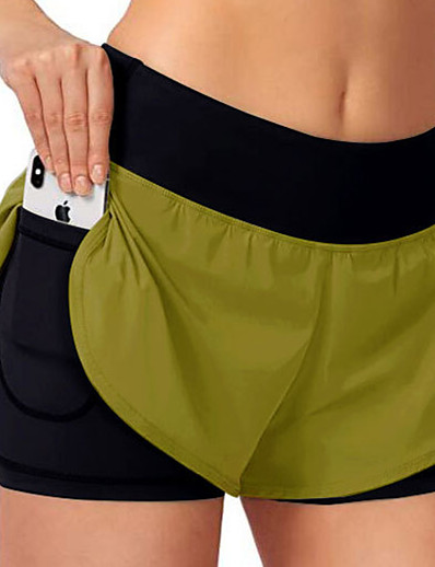 cheap Running, Jogging & Walking-Women's Running Shorts Athletic Bottoms 2 in 1 with Phone Pocket Liner Nylon Spandex Gym Workout Running Jogging Training Exercise Breathable Quick Dry Moisture Wicking Sport Solid Colored Black