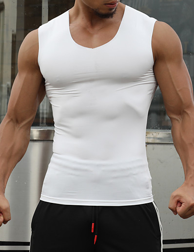 cheap Running, Jogging & Walking-Men's Sleeveless Workout Tank Top Running Tank Top Top Athletic Athleisure Summer Spandex Quick Dry Breathable Soft Fitness Gym Workout Running Jogging Sportswear Solid Colored White Black Army Green