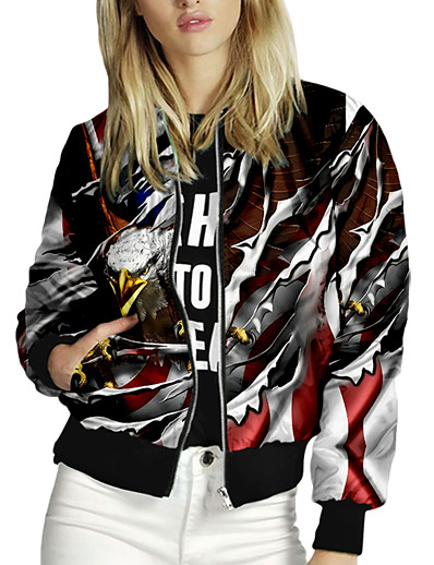 cheap OUTERWEAR-Women's Zipper Jacket Regular Animal Patterned Daily Active White Blue Red Yellow S M L XL