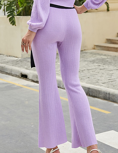 cheap 2021 Trends-Women's Basic Comfort Chinos Pants Solid Colored Full Length Classic Purple