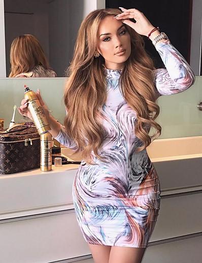 abordables Robes moulantes-Femme Robe Fourreau Mini robe Courte Manches Longues Tartan Printemps Eté Sexy 2021 Blanche Rose Claire S M L XL XXL