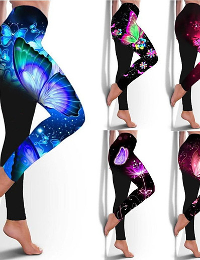 cheap Exercise, Fitness & Yoga-Women's High Waist Yoga Pants Leggings Bottoms Tummy Control Butt Lift Breathable White Purple Red Yoga Fitness Gym Workout Winter Sports Activewear Stretchy / Athletic / Athleisure