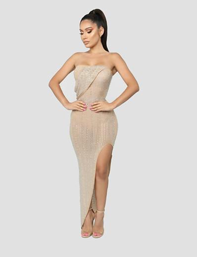 cheap DRESSES-Women's Sheath Dress Maxi long Dress Sleeveless Solid Color Spring Summer Sexy 2021 Black Blushing Pink S M L XL XXL