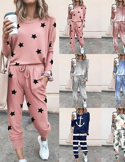cheap Sports Athleisure-Women's Sweatsuit 2 Piece Set Tie Dye Drawstring Loose Fit Crew Neck Tie Dye Cute Sport Athleisure Clothing Suit Long Sleeve Warm Soft Comfortable Everyday Use Causal Exercising General Use / Winter