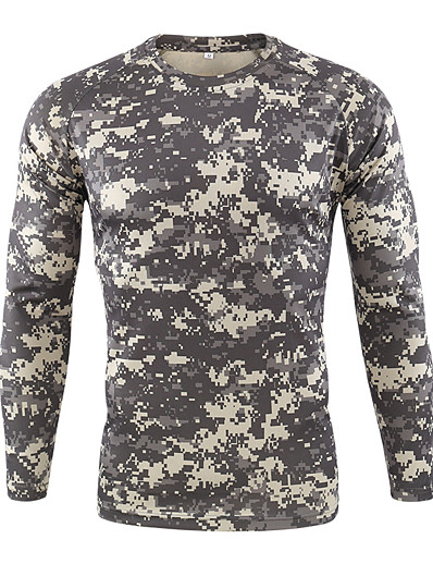 cheap Hunting Clothing-Men's Camo / Camouflage Hunting T-shirt Tee shirt Long Sleeve Outdoor Breathability Wearable Soft Fall Spring Polyester Yellow Army Green Camouflage Green Camouflage Gray