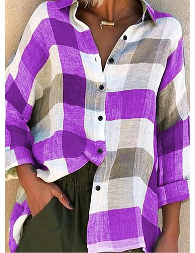 cheap 2021 Trends-Women's Blouse Shirt Pattern Plaid Check Long Sleeve Patchwork Print Shirt Collar Basic Tops Blue Purple Red