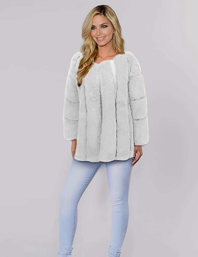cheap OUTERWEAR-Women's Faux Fur Coat Regular Solid Colored Daily White Black Blushing Pink Khaki S M L XL