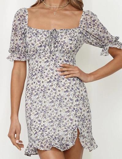 abordables Robes Décontracté-Femme Robe Fourreau Mini robe Courte Manches Courtes Fleurie Eté Simple 2021 Violet S M L XL XXL