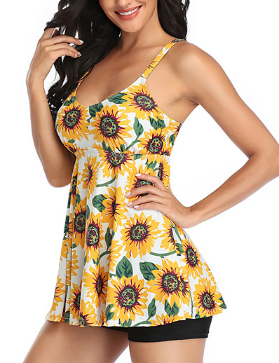 cheap Tankinis-Women's New Lady Cute Tankini Swimsuit Tropical Racerback Print Padded Normal Strap Swimwear Bathing Suits Black Yellow / Bikini / 2 Piece / Tattoo