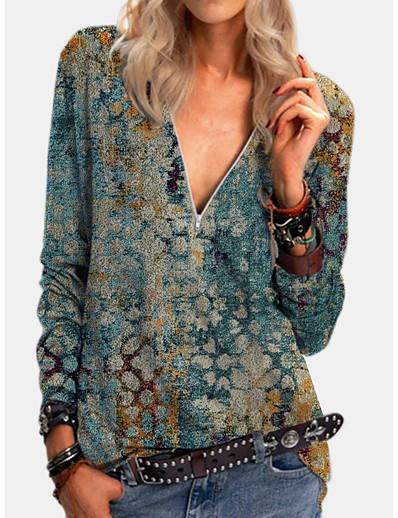 cheap Tees & T Shirts-Women's T shirt Graphic Long Sleeve Quarter Zip Print V Neck Tops Basic Basic Top Blue Purple Yellow