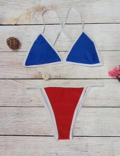 abordables Maillots de Bain Femme-Femme nouveau Rétro Vintage Bikinis Maillot de bain Bloc de Couleur Dos ouvert Triangle Rembourré Normal A Bretelles Maillots de Bain Maillots de bain Bleu