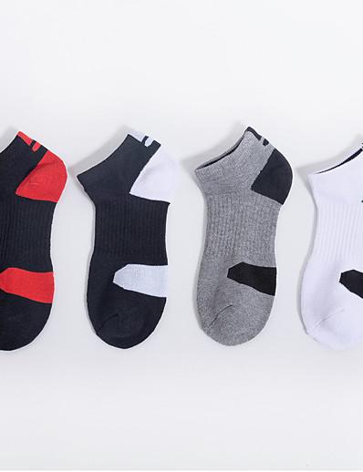 cheap Sports & Outdoors-Adults 1 Pair Running Socks Men's Basic Anti-Slip Breathable Socks Basketball Football / Soccer Running Jogging Sports Solid Colored Nylon Black / Red Grey White / High Elasticity / Athleisure