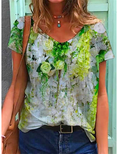 cheap Tees & T Shirts-Women's T shirt Graphic Floral Print V Neck Tops Basic Basic Top Blue Purple Yellow