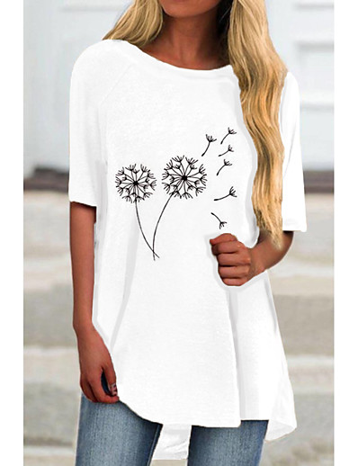 cheap Casual Dresses-Women's T Shirt Dress Tee Dress Short Mini Dress White Half Sleeve Floral Color Block Print Spring Summer Round Neck Casual 2021 S M L XL XXL 3XL