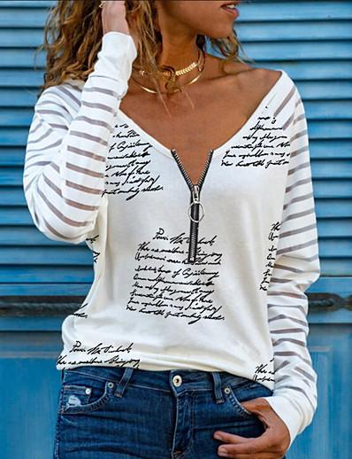 cheap Blouses & Shirts-Women's T shirt Letter Long Sleeve Quarter Zip Print V Neck Tops Basic Basic Top White