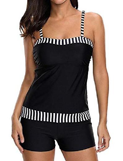 cheap Swimwear-Women's Vinatge Stripe Bathing Suit Plus Size Swimsuit Tankini Swimwear Tummy Control Two Piece Bikini Set S-Black XL