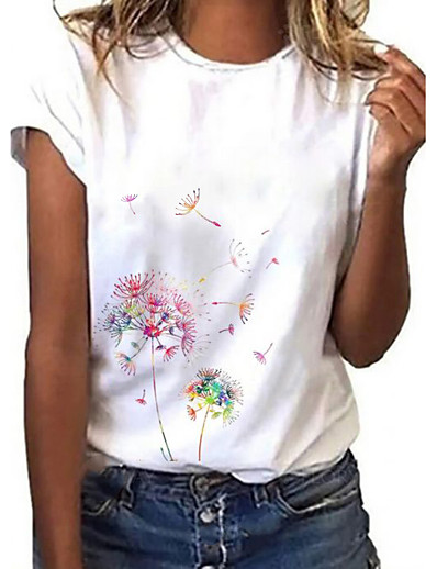 cheap Tees & T Shirts-Women's Going out Floral Theme Dandelion Painting T shirt Graphic Dandelion Print Round Neck Basic Tops White