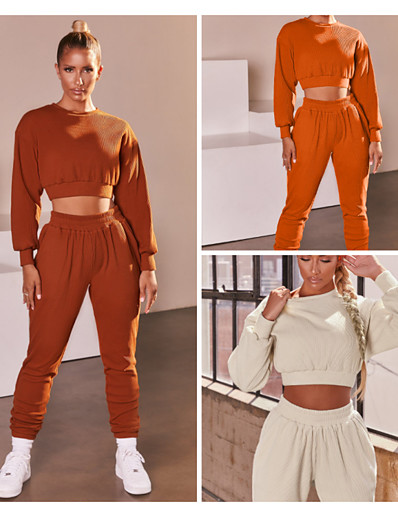 cheap Running, Jogging & Walking-Women's 2 Piece Casual Athleisure Tracksuit Sweatsuit 2pcs Long Sleeve Winter High Waist Thermal Warm Moisture Wicking Breathable Fitness Running Jogging Exercise Sportswear Solid Colored Rust Red