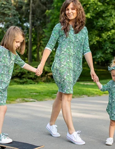 cheap Family Matching Outfits-Mommy and Me Dress Graphic Print Green Half Sleeve Knee-length Matching Outfits