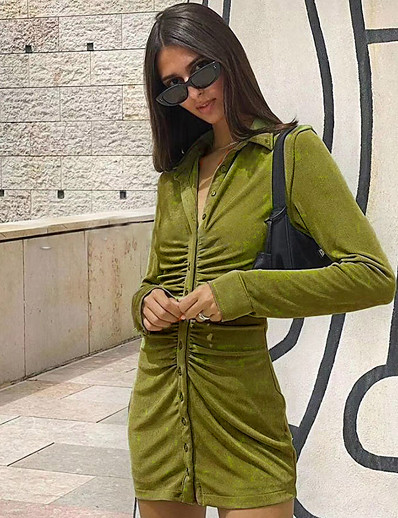cheap Party Dresses-Women's Sheath Dress Short Mini Dress Orange Green Long Sleeve Solid Color Ruched Patchwork Fall Shirt Collar Sexy 2021 S M L