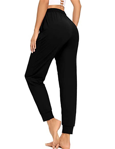 cheap Women-Women's Yoga Sports Sports Gym Yoga Chinos Sweatpants Pants Plain Full Length Drawstring Elastic Waist Black