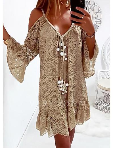 abordables Robes moulantes-Femme Robe d'été Mini robe Courte Manches Courtes Couleur unie Dentelle Eté Simple Sexy 2021 Bleu Kaki S M L XL XXL