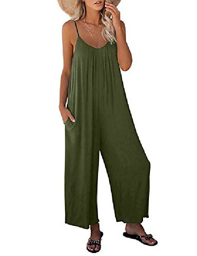 cheap Jumpsuits & Rompers-Women's Casual 2021 Silver Gray ArmyGreen Black Loose Jumpsuit Solid Color
