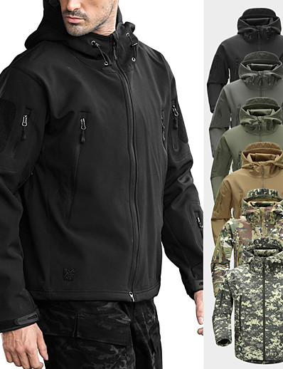 cheap Softshell, Fleece & Hiking Jackets-Men's Hiking Softshell Jacket Hoodie Jacket Ski Jacket Fleece Softshell Winter Outdoor Camo Thermal Waterproof Windproof Fleece Lining Winter Fleece Jacket Top Skiing Camping / Hiking Hunting Light