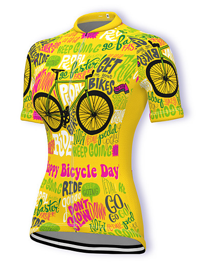 cheap Cycling-21Grams Women's Short Sleeve Cycling Jersey Spandex Dark Pink Yellow Orange Bike Top Mountain Bike MTB Road Bike Cycling Breathable Sports Clothing Apparel / Stretchy / Athleisure