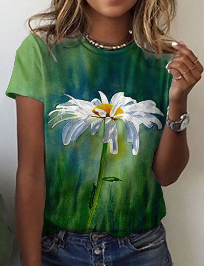preiswerte Damen-Oberteile-Damen Blumen Farbe T-Shirt Blumen Grafik Druck Rundhalsausschnitt Grundlegend Oberteile Grün