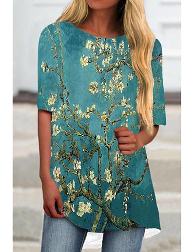 cheap Dresses-Women's T Shirt Dress Tee Dress Short Mini Dress Black Blue Half Sleeve Floral Color Block Print Spring Summer Round Neck Casual 2021 S M L XL XXL 3XL